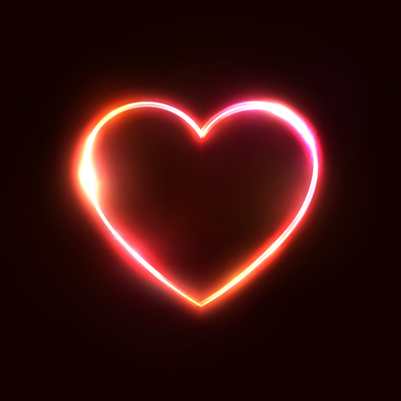Red neon heart background. 3d realistic design for business financial marketing concept. Night club or bar sign. Electric heart shape frame on dark red backdrop. Technology glowing illustration Ilustrace