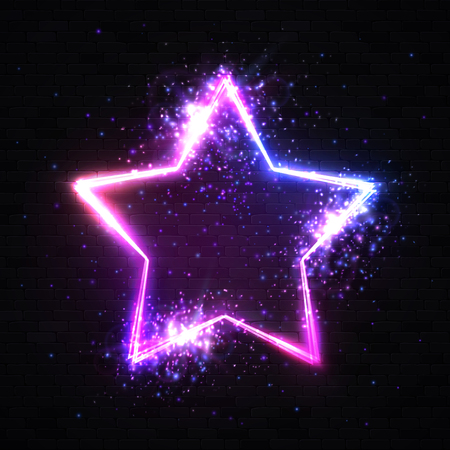 Stars background on black brick wall. Realistic isolated neon sign with particles sparkle light flash explosion for decoration and covering on dark background. 3d glowing 80s style illustration