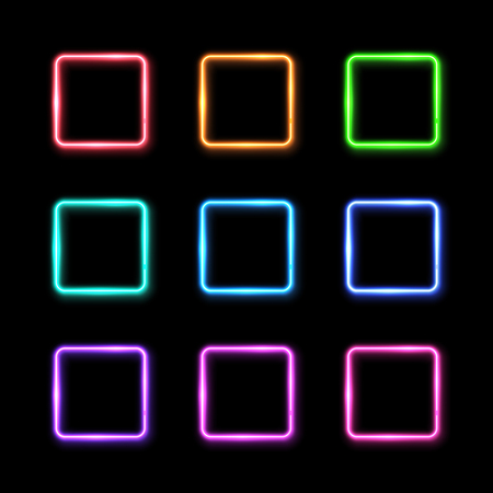 Square frames set on black background. Colorful rectangle neon signs collection in the shape of square. Electric element design template. Halogen or led lamp outlines pack. Glowing illustration
