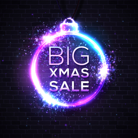 Big Xmas sale. Discount banner on dark brick texture wall. Christmas decoration ball shape frame. Electric glowing cable with particles sparkles light flash. 80s decorative circle illustration. Ilustrace