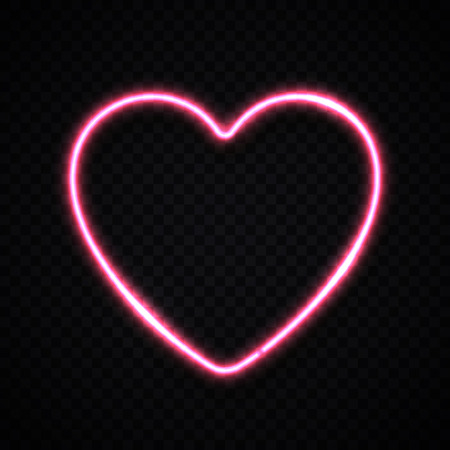 Glowing pink electric heart shape border on transparent background. Design element for Happy Valentines Day. Bright illustration.