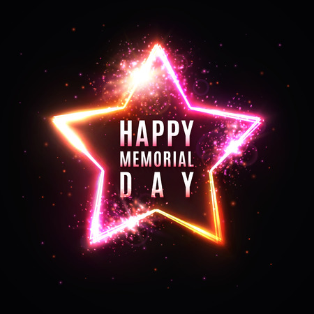 Happy Memorial day banner. Glowing stars background. Light illustration with celebrating text on dark red backdrop.