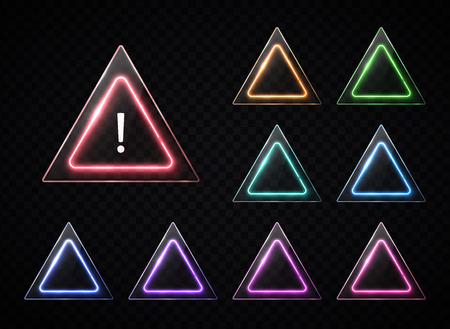 Triangular signs set on transparent background. Color neon triangle frame with glass texture plates for web buttons banner design. Warning danger symbol concept. Traffic sign light illustration Ilustrace