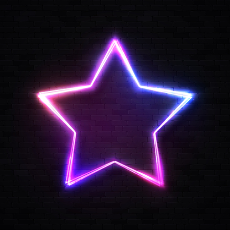3d realistic stars background on black brick wall. Glowing star frame element or show signboard for night club bar casino game design. Neon sign. 1980s style illustration.
