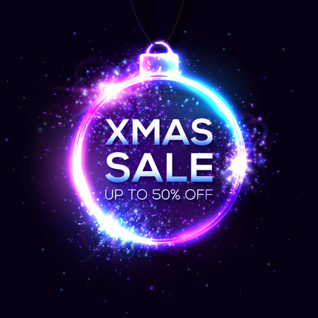 Christmas sale background. Xmas discount banner design on dark backdrop. Bright illustration.