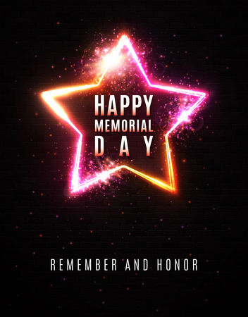 Happy memorial day background. Remember and honor. Celebrating text in glowing electric wire frame star shape border with burning sparks spray particles on black brick wall. Bright illustration
