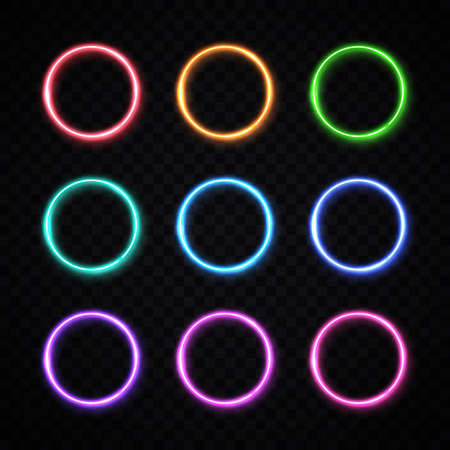 Circle background. Round frames collection. Colorful glowing circle set on transparent background. Neon banners design for internet web usage flyer poster placard. Ilustrace