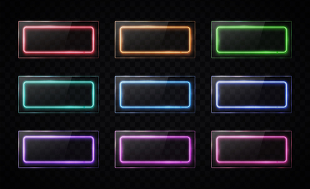 Glossy buttons set. Colorful led halogen lamp web banners collection with glass texture plates. Rectangle frames with blank text place on transparent background. Bright hud design vector illustration.