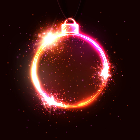 New Year neon background. Circle shape frame neon sign. Xmas design template for seasonal flyers greetings card or Christmas themed invitations. Night club disco music 80s style vector illustration.