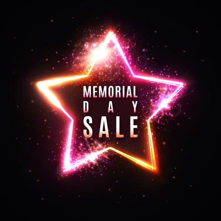 Memorial day sale banner. Realistic 3d glowing star frame on dark red background. Bright vector illustration. EPS 10
