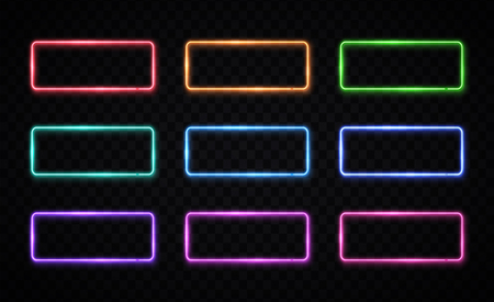 Colorful neon frames set. Red, green, blue, pink yellow purple rectangle backgrounds. Color square light logo. Illuminated geometric shapes vector illustration. Ilustrace