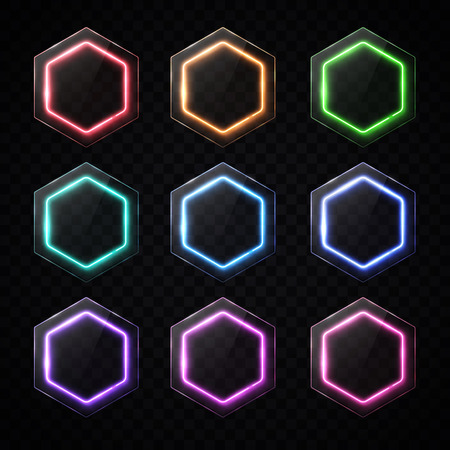 Colorful neon hexagon banners set. Glowing led hexagonal for web design.