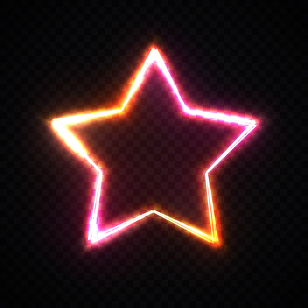 Red and yellow star frame on dark transparent background with space for your text. Glowing neon border with light effects sparkle. Electric signboard. Ilustrace