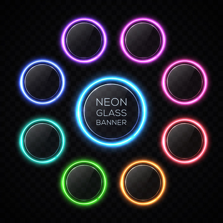 Color circle neon buttons set with light effect. Glossy glass texture banner with glare on black background. Round glowing sign for web interface infographic internet sites report. Vector illustration 矢量图像