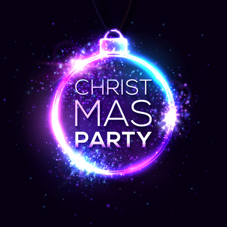 Christmas party colorful neon sign for holiday project. Advertising festive poster for Xmas party design. Laser circle shining banner of luminous round wire lines with star. Bright illustration Ilustrace