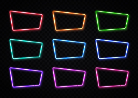 Neon frame sign collection in square shape. Blank color set template. Night club, bar, show, game design element. 80s style illustration.