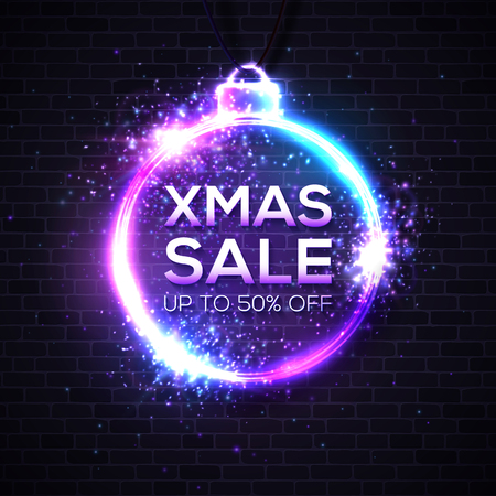 Christmas sale design template. Neon text and Christmas decoration frame on blue background. Xmas sale discounts card postcard poster luminous night advertising banner. Illuminated illustration