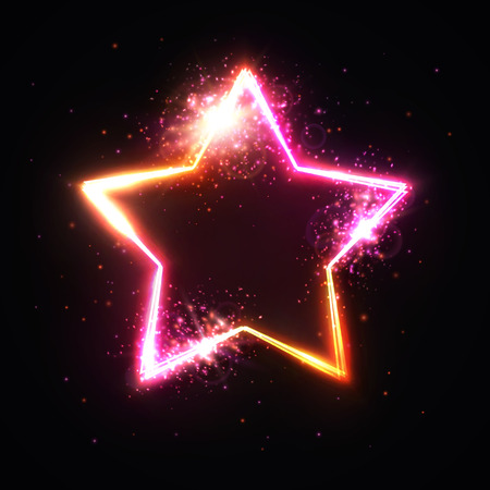 star frame with light flash and particles. Shining banner. Isolated on dark red background. Bright illustration in 80s neon style. Ilustrace
