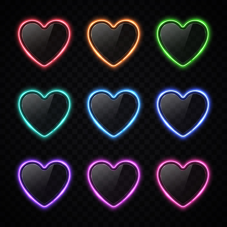 Colorful neon heart banners set on transparent background. Halogen lamp buttons with glass texture plates. Red green blue purple violet pink coral heart signs poster design. Bright vector illustration