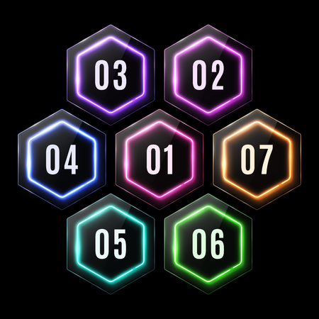 Colorful glossy plastic neon hexagon banners set. Glowing led polygon for business infographic. Elements for infographics template, information design. Glass texture buttons illustration. Ilustrace