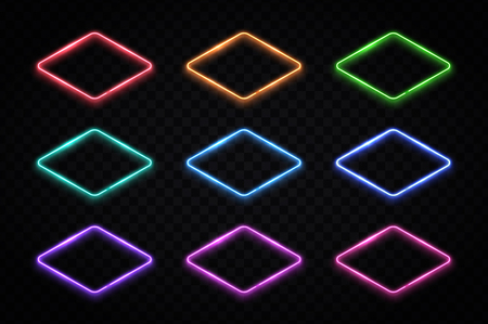 Neon geometric shapes set. Colorful rhombus frames collection. Elements for flyer banner info graphics template, information design. Ilustrace