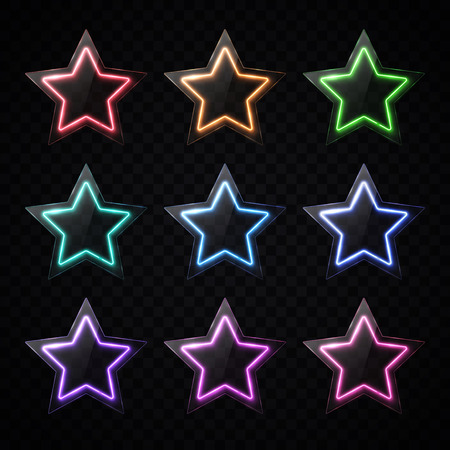 Colorful neon star shape banners set. Glowing led light stars with glass texture plate.