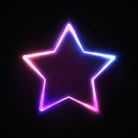 Neon light star sign. Blue pink violet glowing colorful signage isolated on dark background.