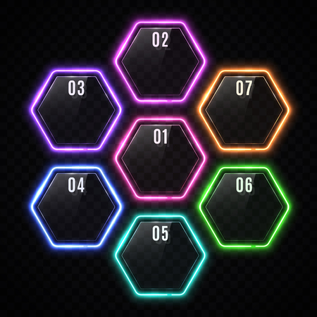 Glossy plastic banners set with led frame. Shiny neon lights hexagons for business design infographics report, number options, step presentation workflow layout. Clean modern style vector illustration Ilustrace