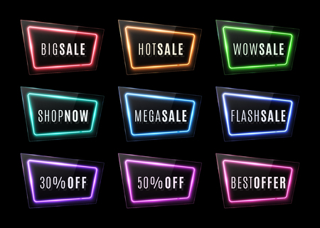 Big sale, wow sale, shop now, best offer. Discount neon signs with glass texture plates. Led or halogen electric borders for banners posters flyers clearance design. Colorful set vector illustration.