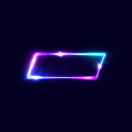 Geometric neon vector banner on blue dark background. Neon rectangle frame with electric laser effect. Shining sign with light flash sparkle star. Retro 80s style signboard. Color vector illustration. Ilustrace