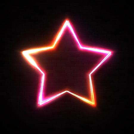 Shining star shape frame on black brick wall background. Ilustrace