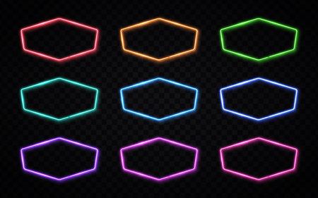 Shining signs collection in hexagon shape. Technology electric led or halogen lamp frames with blank text space. Colorful light borders collection for signage design. 80s style vector illustration. Ilustrace