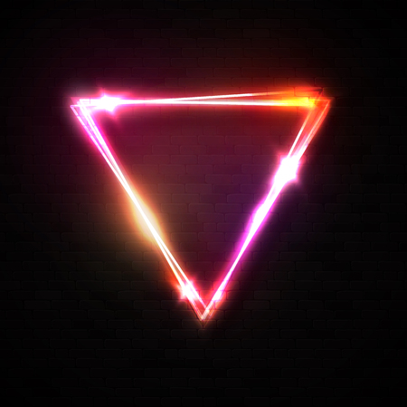 Shining triangle neon sign on black brick texture wall background. Glowing pink red yellow neon electric wiring border with stars sparkles. Night club 80s style retro signage illustration.