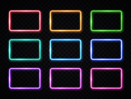 Colorful neon square signs set.