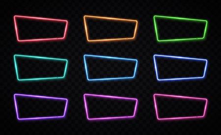 Color neon frames set on transparent background.