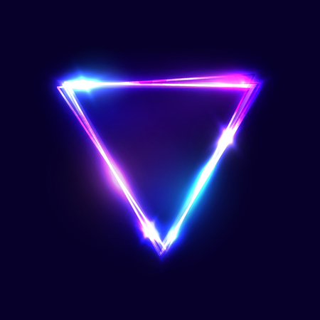 Triangle background. Glowing neon sign with blue and pink light effects. Ilustrace