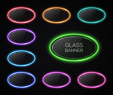 Colorful oval neon lights banner design set. Glowing electric illuminated signs with glass texture backdrop on transparent background. Elements for your ad, sign, poster. Shining vector illustration.