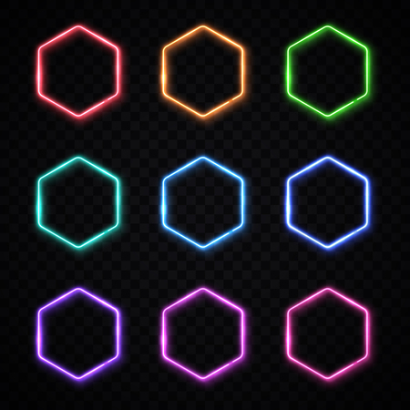 Hexagon neon banners set. Glowing electric borders collection. Hexagonal light signs with blank text space.