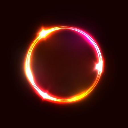 Neonrotes rosafarbenes Kreislampenzeichen lokalisiert auf dunkelrotem Hintergrund. Elektrische geometrische Formgrenze mit Textraum.