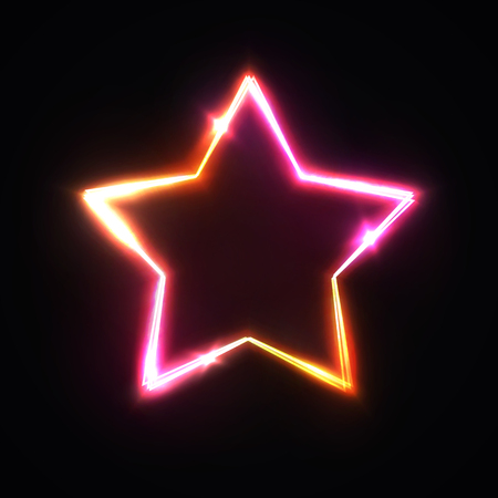 Realistic isolated neon sign of star for decoration and covering on dark red background.