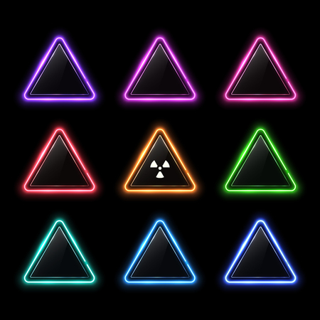 Glowing colorful set of neon rounded triangle on black background. Illuminated geometric polygon frame with glass or plastic glossy plate with radiation symbol.