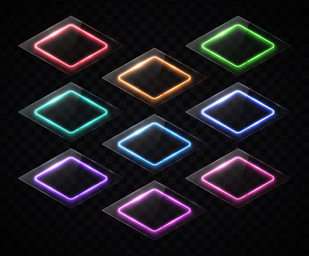 Rhombus banners set. Neon sign. Led or halogen lamp technology frames with glass or plastic texture plate.