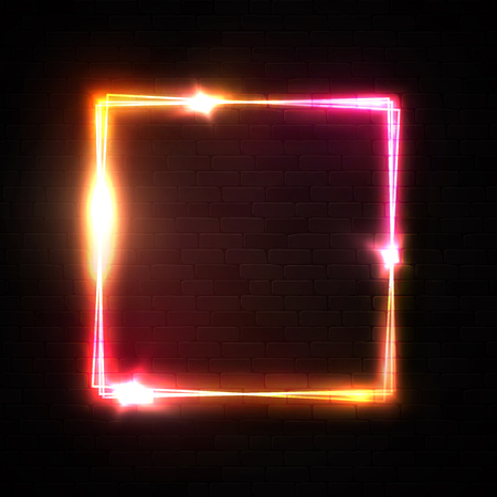 Vector neon square frame on black brick wall background. Shiny rectangle electric banner with star sparkle light flash. Neon sign design for night club bar flyer poster. Red border vector illustration