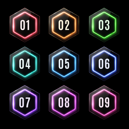 Glossy plastic banners set with led frame. Shiny neon lights hexagons for business design infographics report, number options, step presentation workflow layout.