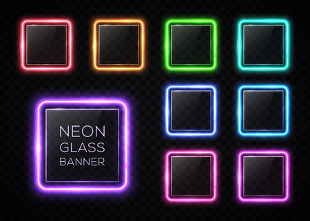 Glossy plastic texture banners set. Colorful square frames with led halogen lamp. Technology collection. Rectangle signs with blank text place on transparent background.