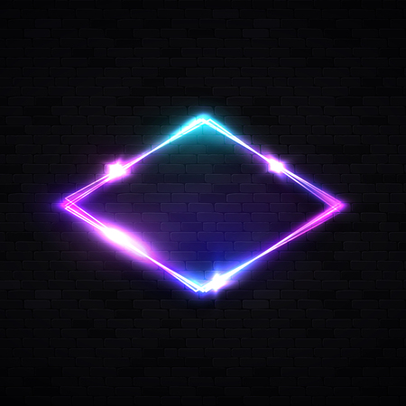 Neon rhombus background on black brick wall. Retro light lozenge sign with neon effect. Technology signage. Night club design.