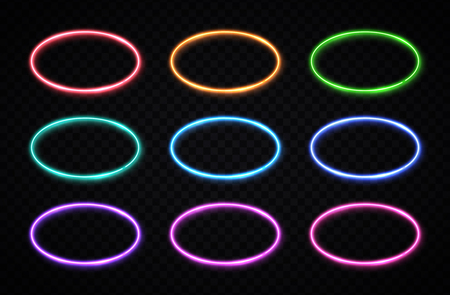 Oval frames collection. Circle chrome background.