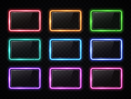 Colorful neon square signs set with glass texture plates. Glowing color rectangles collection on transparent background. Shining led halogen lamps frame banners. Ilustrace
