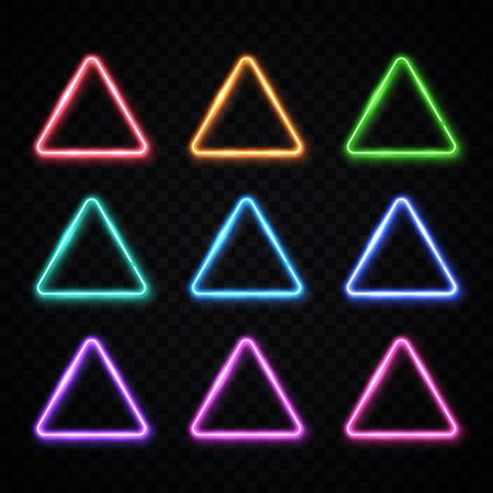 Neon light triangles set on transparent background. Color techno frame collection. Night club electric bright 3d sign. Banner design.