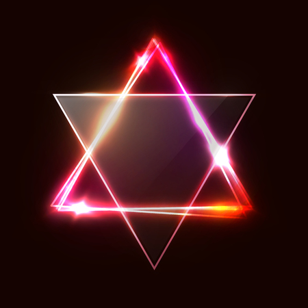 Jewish David star design. Triangle banner with transparent glass plate. Neon sign. Judaism Hebrew Israel symbol art. Electric abstract frame on dark red background. Reklamní fotografie - 127493037